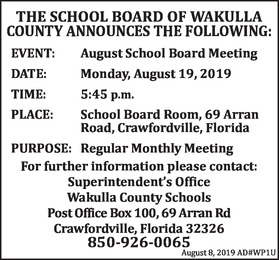 Sheriff's Report Aug  29, 2019 | TheWakullaNews com